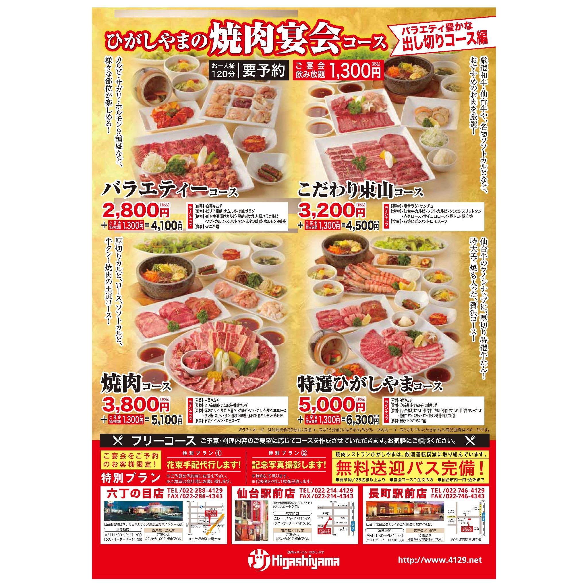 ひがしやまの焼肉宴会コース 食べ放題編
