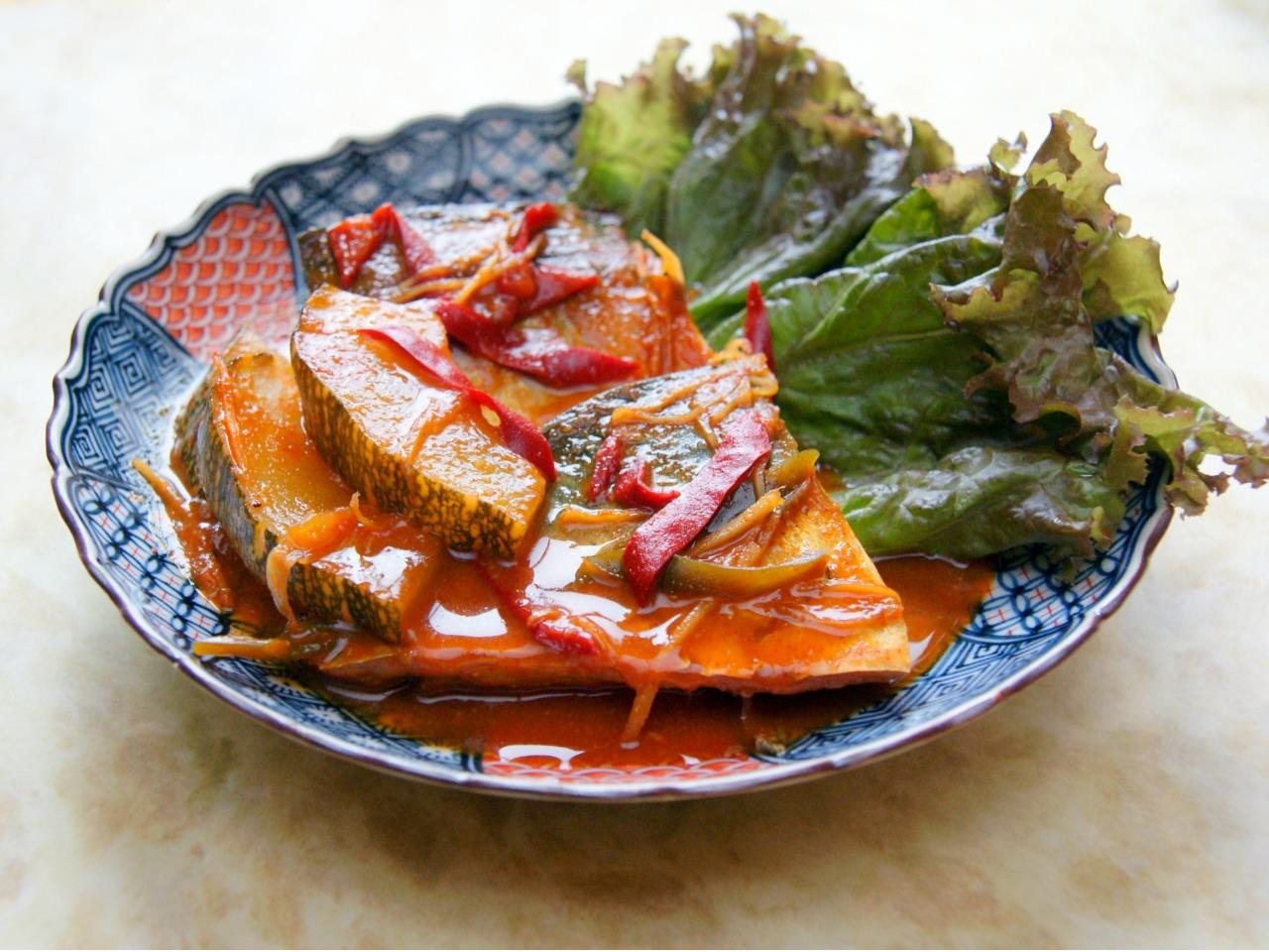 韓国式サバとホバッ(朝鮮かぼちゃ)の煮つけ