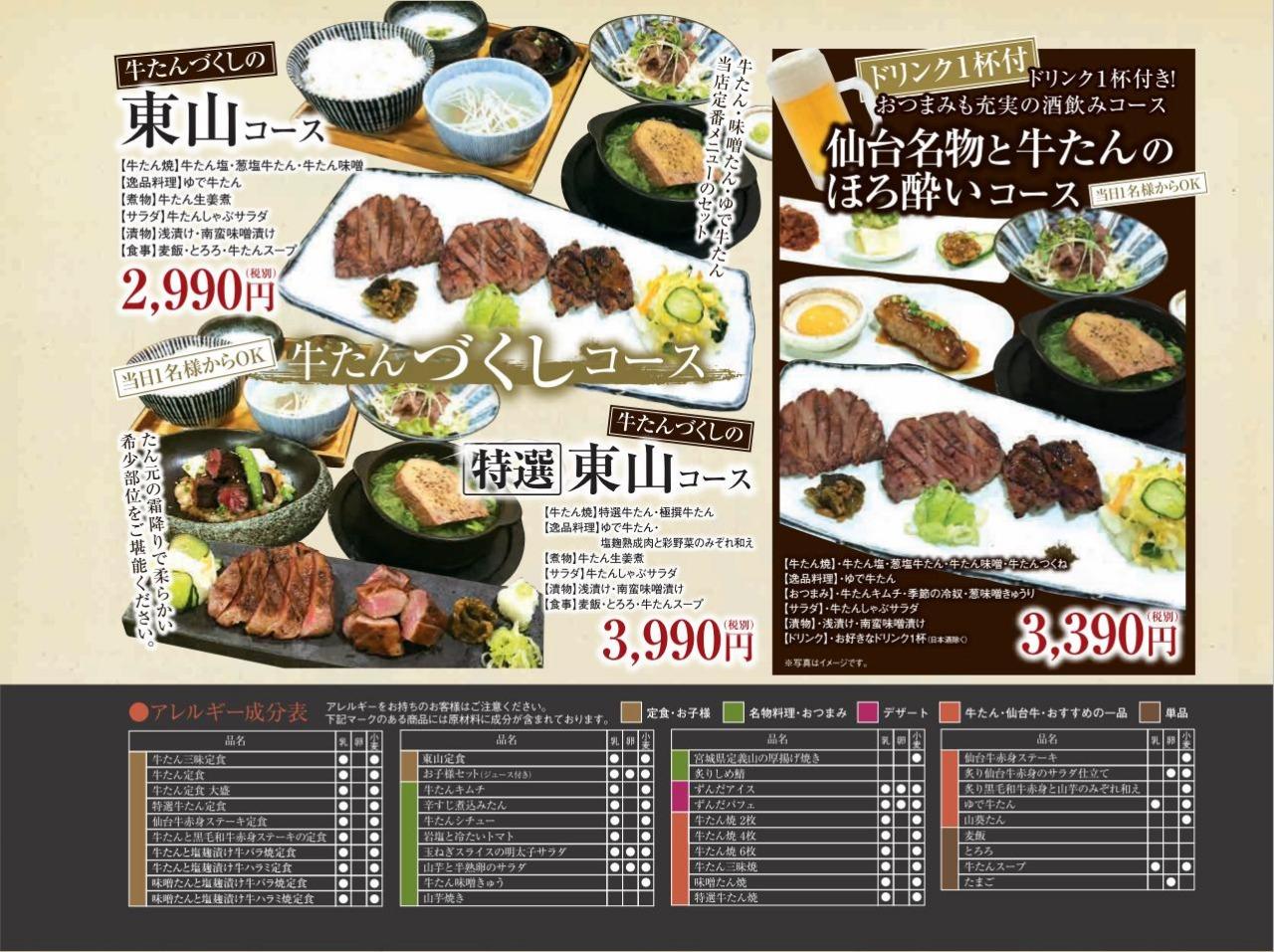 店舗メニュー 炭焼牛たん東山 ekie広島店メニュー